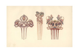 British Art Nouveau Hair Combs in Silver Giclee Print