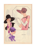 Dusty Pink Hat, Black Hat with Roses And Floral Cloche From Art, Gout, Beaute, 1926 Giclee Print