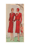 Woman in Tweed Coat And Woman in Sports Dress From Art, Gout, Beaute, 1930 Giclee Print