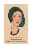 Woman Wearing Bottle-green Taupe Hat And Necklace in Black And Green From Art, Gout, Beaute, 1930 Giclee Print