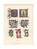 Initials From Illuminated Manuscripts of the Early 15th Century Giclee Print by Jakob Heinrich Hefner-Alteneck