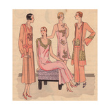Night Dresses in Super Crepe, Night Ensemble in Crepe And Pyjamas From Art, Gout, Beaute, 1930 Giclee Print