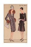 Afternoon Coat Trimmed with Fur And Afternoon Dress in Black Velvet From Art, Gout, Beaute, 1926 Giclee Print