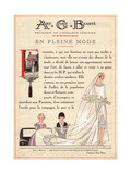 Art, Gout, Beaute Masthead with Bride in Wedding Dress in Crepe De Chine with Silver Lace, 1926 Giclee Print