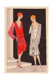 Afternoon Dress in Moroccan Red Ivory Crepe Dress Trimmed with Lace From Art, Gout, Beaute, 1926 Giclee Print