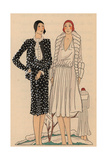 Afternoon Ensemble in Polka-dot Black Panne, Dress in Crepe Satin From Art, Gout, Beaute, 1928 Giclee Print