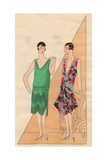 Evening Dresses in Fringed Crepe And Floral-print Satin From Art, Gout, Beaute, 1926 Giclee Print