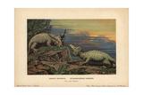 Elginia Mirabilis, Extinct Pareiasaur, And Hyperodapedon Gordoni, Extinct Rhynchosaur Giclee Print by F. John