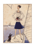 Woman on Yacht in Sailor Suit with Navy Blue Skirt, White Blouse From Art, Gout, Beaute, 1930 Giclee Print