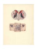 British Enamel Art Nouveau Clasps Giclee Print