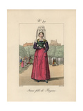 Young Woman of Bayeux. Many Things Here To Note: the Wide Parting in the Hair Giclee Print