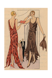 Red Lame Evening Dress And Brown Crepe Georgette Evening Dress From Art, Gout, Beaute, 1928 Giclee Print