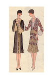 Afternoon Dress in Crepe Satin, And Visiting Dress in Chiffon From Art, Gout, Beaute, 1926 Giclee Print