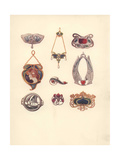 British Art Nouveau Brooches And Pendants in Gold Giclee Print