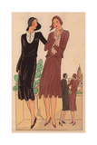 Afternoon Dresses in Black Glossy Panne And in Fake Alpaca From Art, Gout, Beaute, 1928 Giclee Print