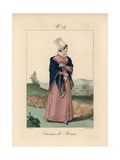 Tradeswoman of Rouen Wearing a Bonnet Called a Bavolet Giclee Print