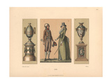 Elegant Parisian Man in the 1792 Style And a Young German Woman in Cape And Bonnet Giclee Print by Jakob Heinrich Hefner-Alteneck