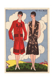 Afternoon Dresses in Red Crepe And in Beige Chiffon And Taffeta From Art, Gout, Beaute, 1926 Giclee Print
