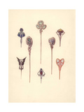 British Art Nouveau Hair Pins in Silver Giclee Print