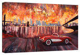 'New York City - Two Bridges with a Corvette' Gallery-Wrapped Canvas Gallery Wrapped Canvas by Markus Bleichner