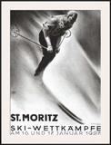 St. Moritz, Ski Framed Giclee Print