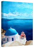 'Oia Santorini with Blue Sky' Gallery-Wrapped Canvas Gallery Wrapped Canvas by Markus Bleichner