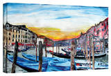 'Gondolas on Canale Grande in Venice' Gallery-Wrapped Canvas Stretched Canvas Print by Martina Bleichner