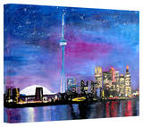 'Toronto Skyline at Night' Gallery-Wrapped Canvas Stretched Canvas Print by Martina Bleichner