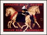 Circus Schumann, Apache Zu Pferd Framed Giclee Print by Ludwig Hohlwein