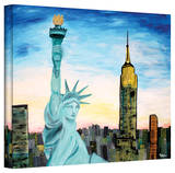 'Statue of Liberty with View of New York' Gallery-Wrapped Canvas Stretched Canvas Print by Martina Bleichner