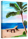 'Strand Chairs on Caribbean Beach' Gallery-Wrapped Canvas Stretched Canvas Print by Martina Bleichner