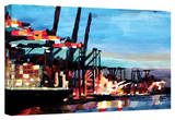 'Hamburg Harbour with Container Ship' Gallery-Wrapped Canvas Stretched Canvas Print by Markus Bleichner