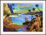 Hawaii, Holo Holo, Outer Island Framed Giclee Print by Rick Sharp