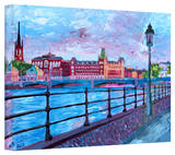 'Stockholm City View' Gallery-Wrapped Canvas Stretched Canvas Print by Martina Bleichner