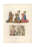 Male And Female Fashion From the Mid 15th Century Giclee Print by Jakob Heinrich Hefner-Alteneck