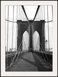 New York, Brooklyn Bridge Cable Framed Giclee Print