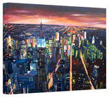 'New York City - the Empire State Building at Night' Gallery-Wrapped Canvas Stretched Canvas Print by Markus Bleichner
