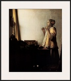 Woman with a Pearl Necklace Posters by Jan Vermeer