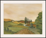 Sunny Tuscan Road Framed Giclee Print by J. Clark
