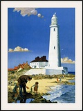 Whitley Bay Lighthouse Framed Giclee Print by F Donald Blake