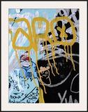 Yellow Aqua Graffiti I Framed Giclee Print by Jenny Kraft