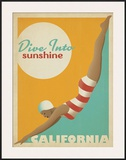 Dive Into Sunshine: California Framed Giclee Print by  Anderson Design Group