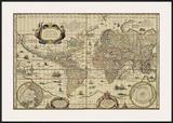 Explorer's World, c.1630 Prints by Willem Jansz Blau