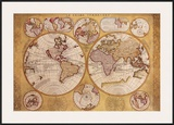 Antique Map, Globe Terrestre, 1690 Posters by Vincenzo Coronelli