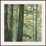 Trees in Fog II Print by Cheryl Fortier