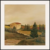 Sunny Tuscan Fields Framed Giclee Print by J. Clark