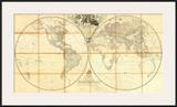 Map of the World, Researches of Capt. James Cook, c.1808 Prints by Aaron Arrowsmith