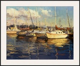 Boats On Glassy Harbor Prints by  Furtesen