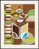 Tulip Motif Framed Giclee Print by Linda Ketelhut