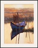 Blue Boat Print by Nenad Mirkovich